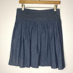 Anthropologie Dolan Chambray Pleated Skirt